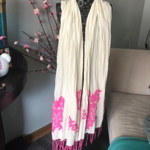 Beautiful floral embroidered scarf